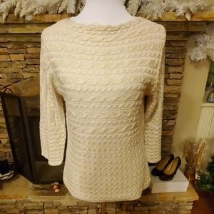 Ruby Rd. Embellished Boat-Neck Ivory Knit Top